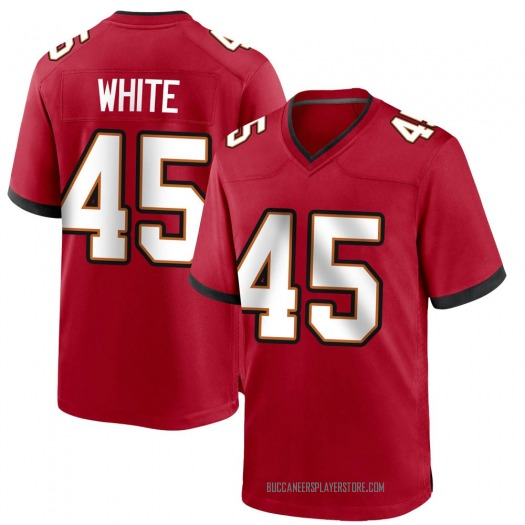 Nike Devin White Tampa Bay Buccaneers Game White Red Team Color Jersey - Men's