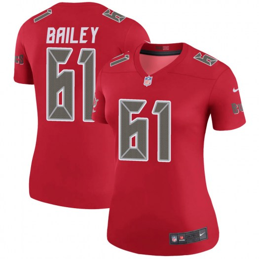 Nike Zack Bailey Tampa Bay Buccaneers Legend Red Color Rush Jersey - Women's